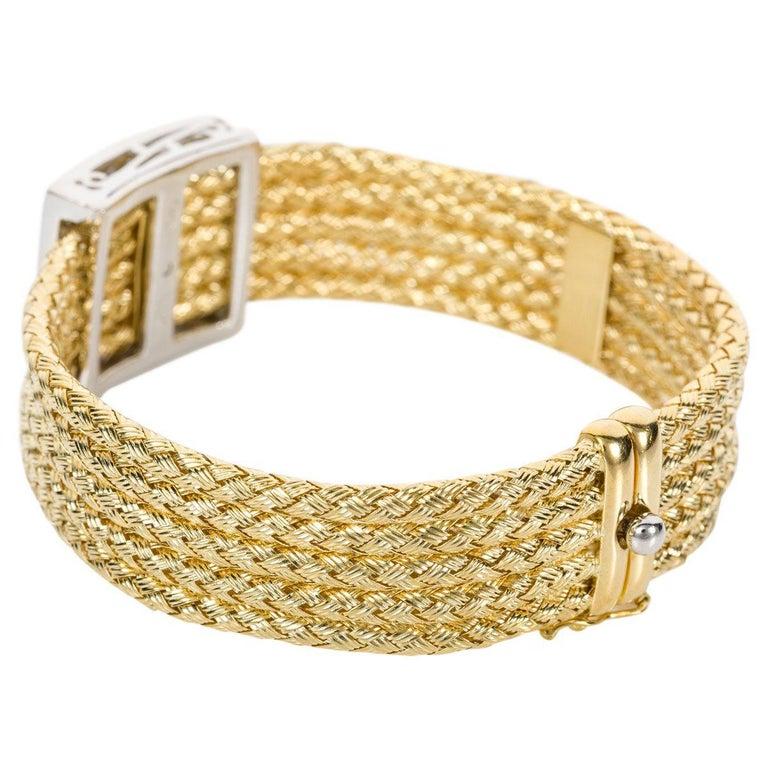 Retro Italian 18 Karat Yellow Gold and Diamond Five-Strand Woven Bracelet For Sale