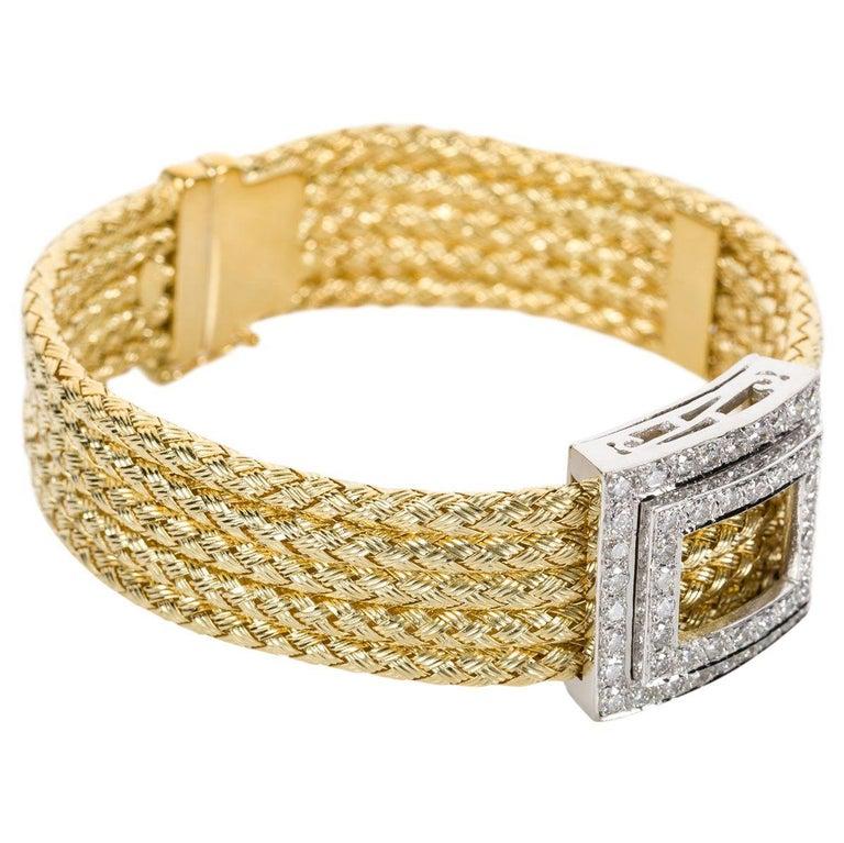 Women's Italian 18 Karat Yellow Gold and Diamond Five-Strand Woven Bracelet For Sale