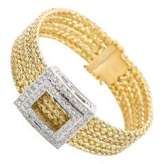 Italian 18 Karat Yellow Gold and Diamond Five-Strand Woven Bracelet