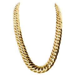 Italian 18 Karat Yellow Gold Flat Double Curve Necklace
