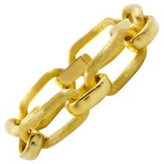 "Italian 18K Yellow Gold Florentine Finish Open Link Bracelet, 7 3/4"" long"