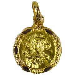 Italian 18 Karat Yellow Gold Saint Rita Charm Pendant