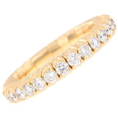 Italian 18 Karat Yellow Gold Stretch Diamond Band Ring
