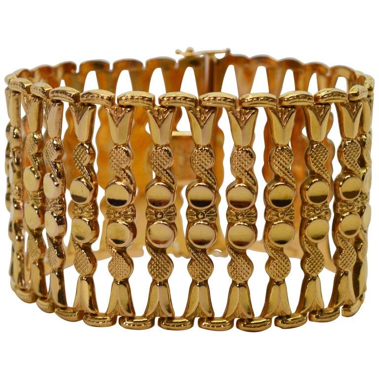 Italian 18 Karat Yellow Gold Wide Ladder Link Bracelet For Sale