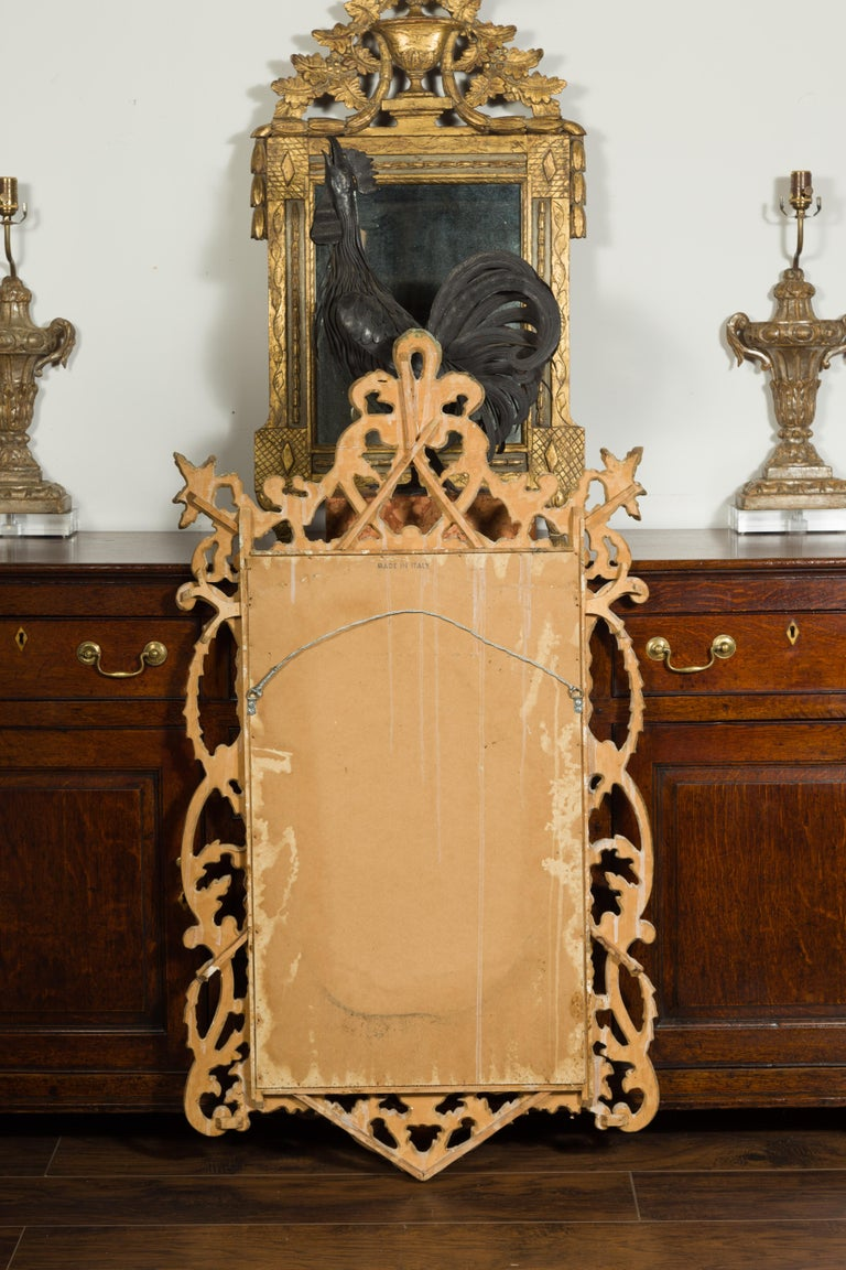 Italian 1800s Carved and Painted Crested Mirror with C-Scrolls and Foliage For Sale 9