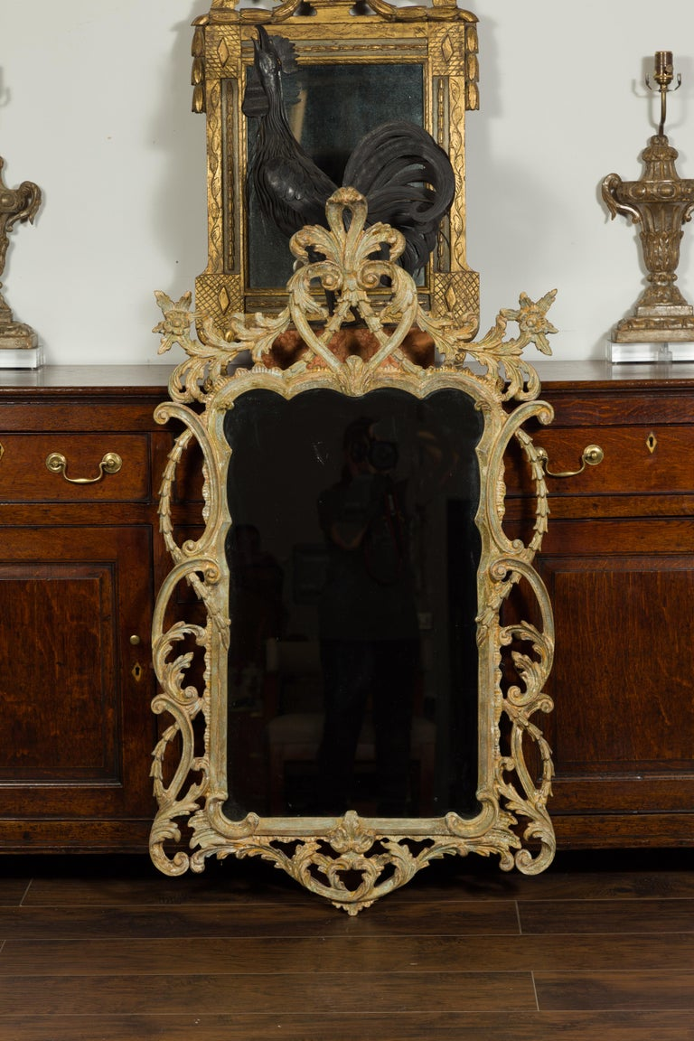 Italian 1800s Carved and Painted Crested Mirror with C-Scrolls and Foliage In Good Condition For Sale In Atlanta, GA