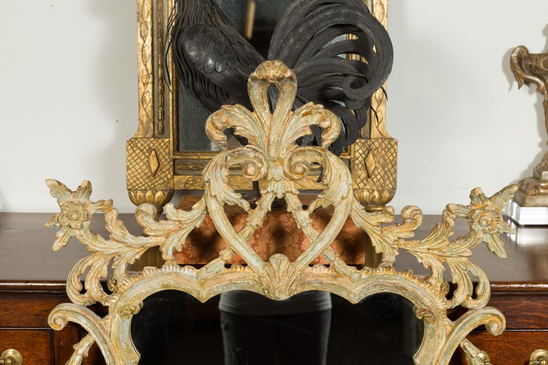 19th Century Italian 1800s Carved and Painted Crested Mirror with C-Scrolls and Foliage For Sale