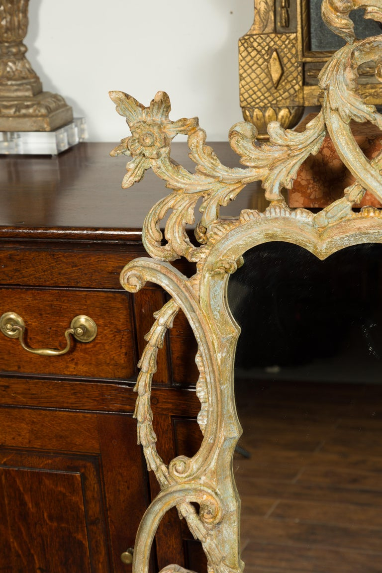 Italian 1800s Carved and Painted Crested Mirror with C-Scrolls and Foliage For Sale 1