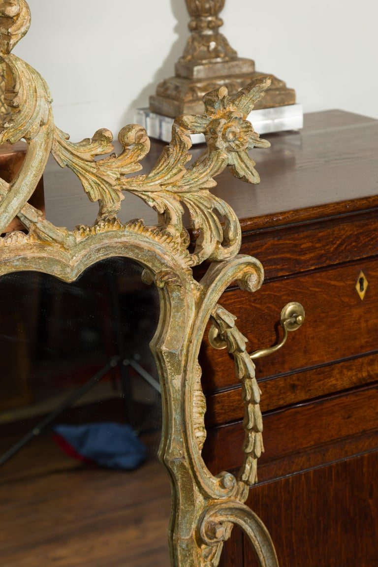 Italian 1800s Carved and Painted Crested Mirror with C-Scrolls and Foliage For Sale 2