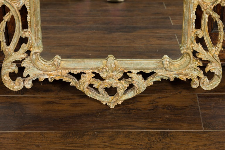 Italian 1800s Carved and Painted Crested Mirror with C-Scrolls and Foliage For Sale 3