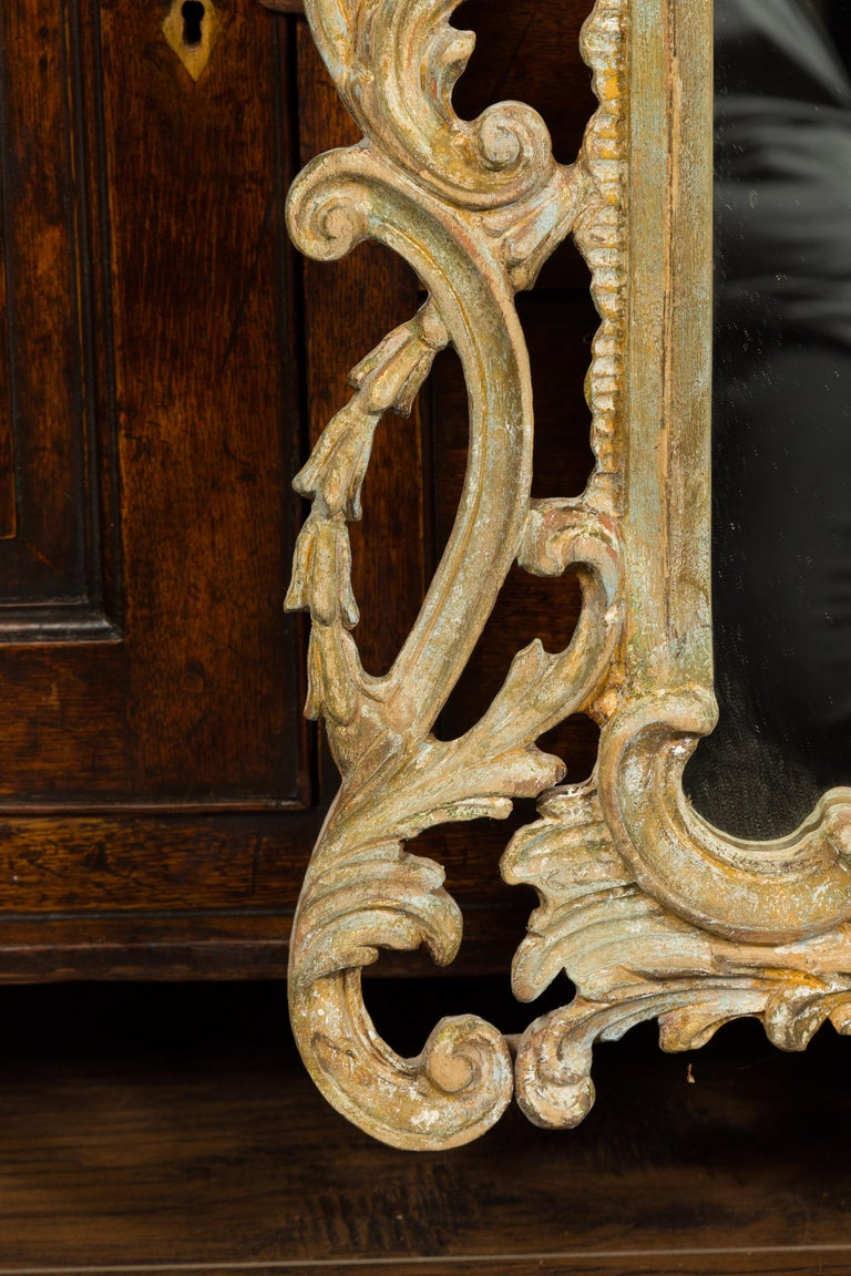 Italian 1800s Carved and Painted Crested Mirror with C-Scrolls and Foliage For Sale 4