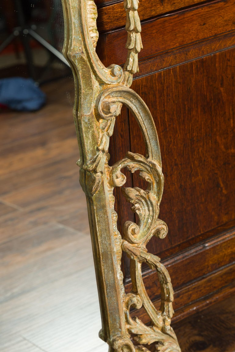 Italian 1800s Carved and Painted Crested Mirror with C-Scrolls and Foliage For Sale 5