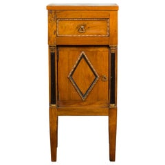 Italian 1800s Empire Walnut Cabinet with Ebonized Columns and Diamond Motif
