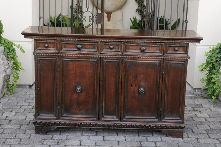 Italian 1800s Hand Carved Walnut Credenza with Five Drawers over Two Doors For Sale 6