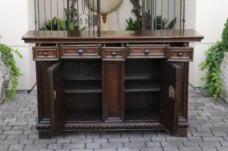 Italian 1800s Hand Carved Walnut Credenza with Five Drawers over Two Doors For Sale 7