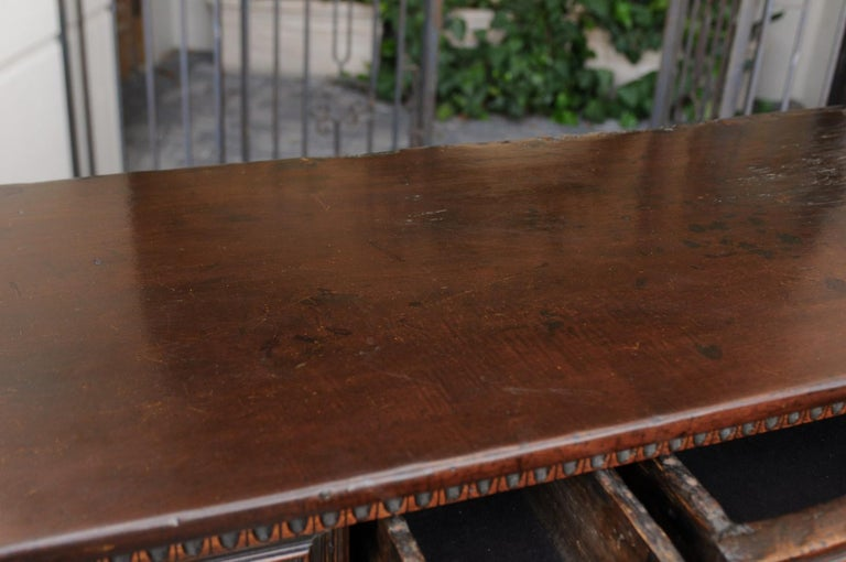 Italian 1800s Hand Carved Walnut Credenza with Five Drawers over Two Doors For Sale 10