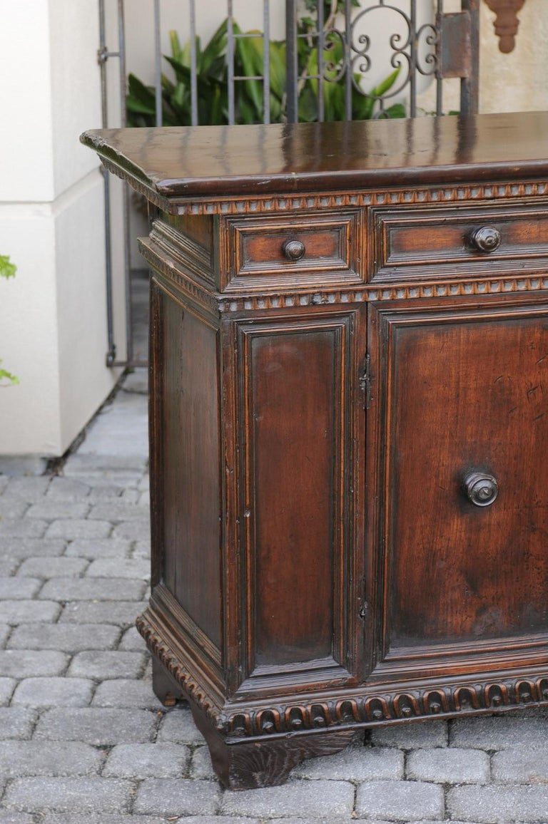Hand-Carved Italian 1800s Hand Carved Walnut Credenza with Five Drawers over Two Doors For Sale
