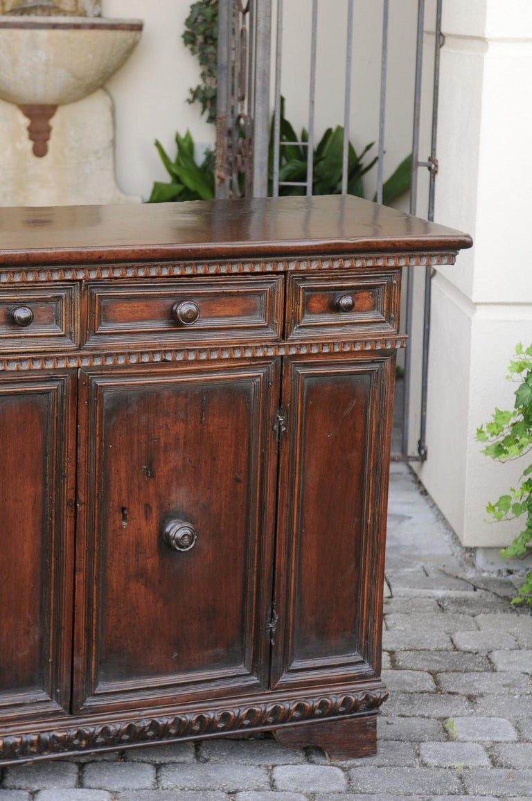 Italian 1800s Hand Carved Walnut Credenza with Five Drawers over Two Doors In Good Condition For Sale In Atlanta, GA