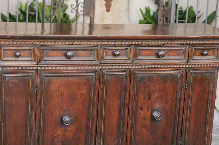 19th Century Italian 1800s Hand Carved Walnut Credenza with Five Drawers over Two Doors For Sale