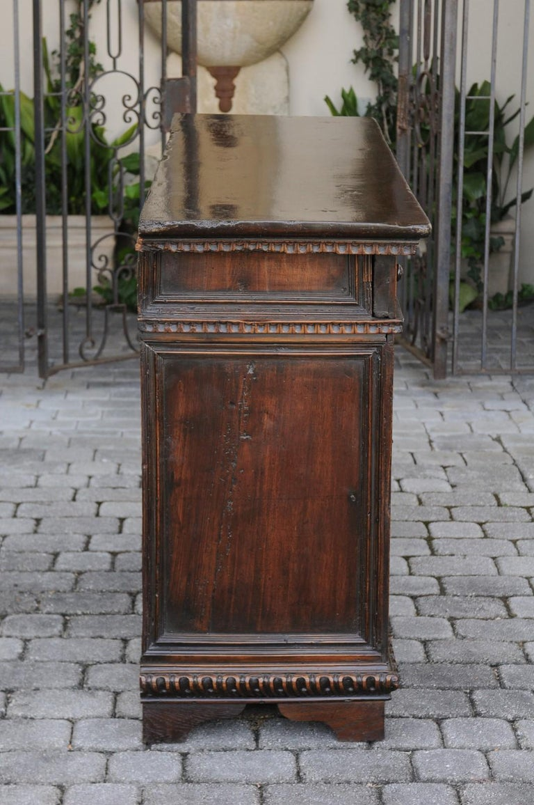 Italian 1800s Hand Carved Walnut Credenza with Five Drawers over Two Doors For Sale 1