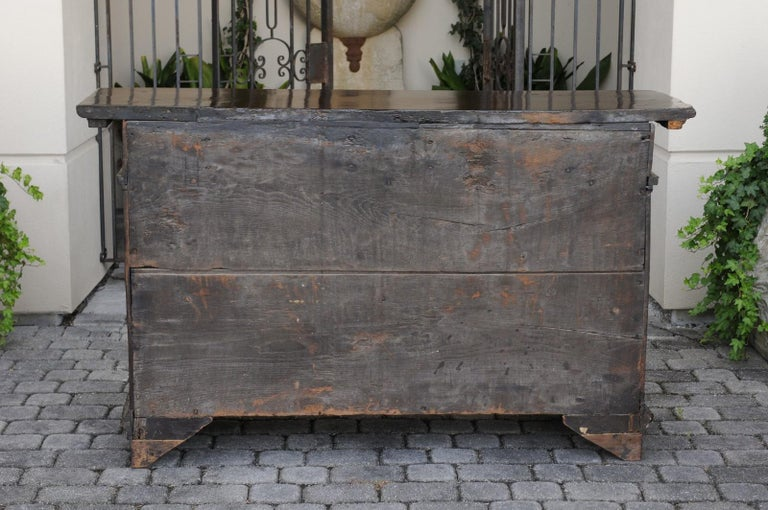 Italian 1800s Hand Carved Walnut Credenza with Five Drawers over Two Doors For Sale 2