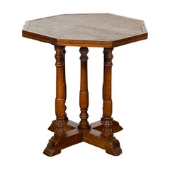 Italian 1800s Low Side table with Octagonal Top, Turned Legs and X-Form Plinth