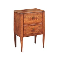 Italian 1800s Neoclassical Walnut Commode with Geometrical and Floral Inlay