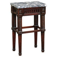 Italian 1800s Neoclassical Walnut Side Table with Marble Top and Carved Decor