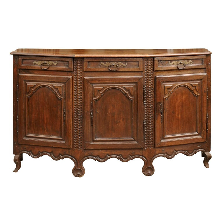 Italian 1800s Oak Polygonal Front Credenza with Three Drawers over Three Doors
