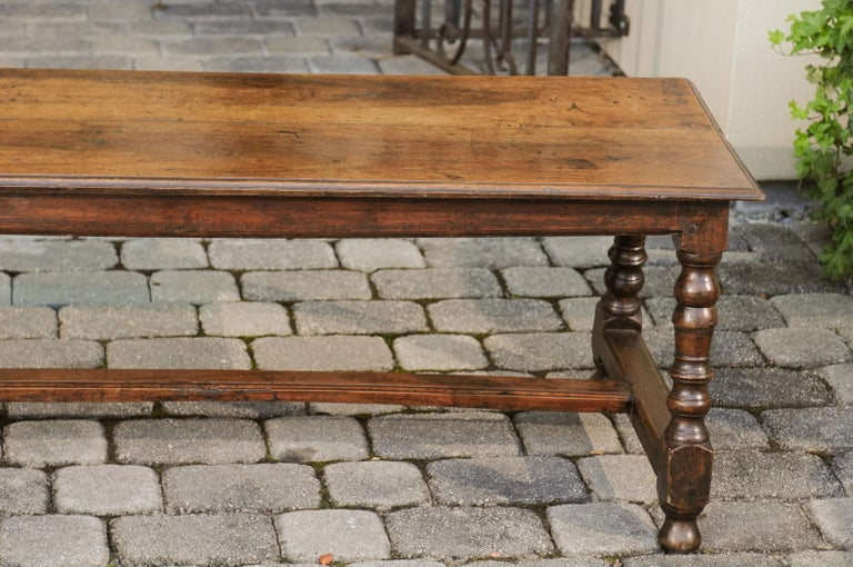 Italian 1800s Walnut Bench with Turned Legs and H-Form Cross Stretcher For Sale 8