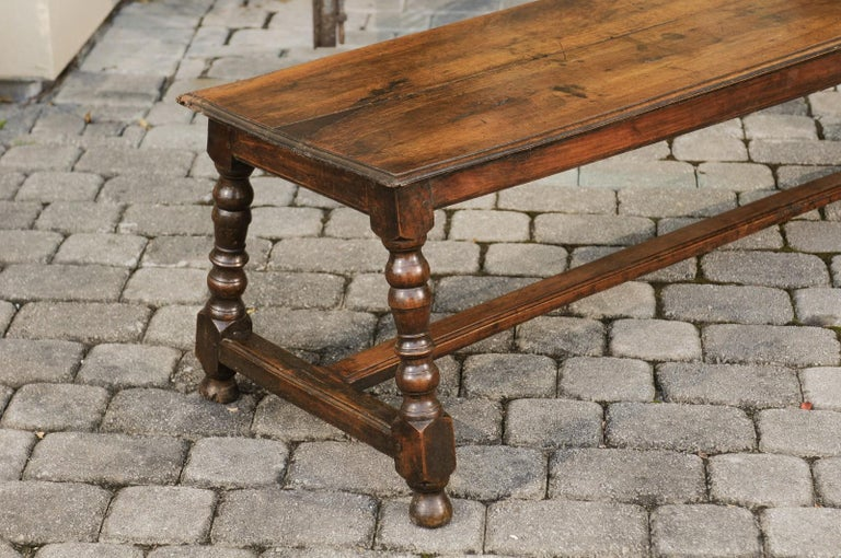 19th Century Italian 1800s Walnut Bench with Turned Legs and H-Form Cross Stretcher For Sale