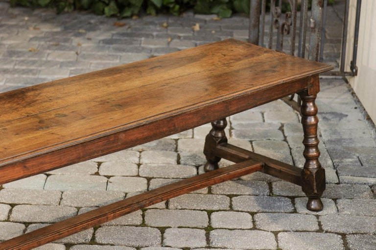 Italian 1800s Walnut Bench with Turned Legs and H-Form Cross Stretcher For Sale 1