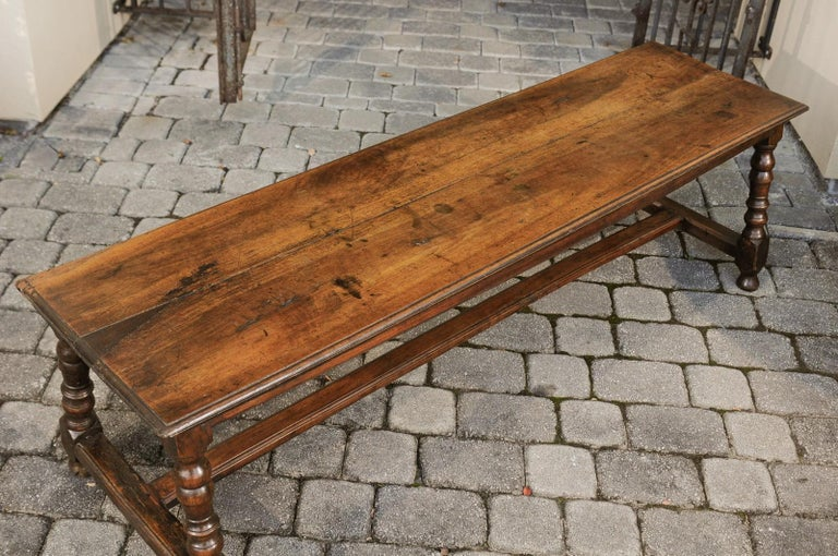 Italian 1800s Walnut Bench with Turned Legs and H-Form Cross Stretcher For Sale 2