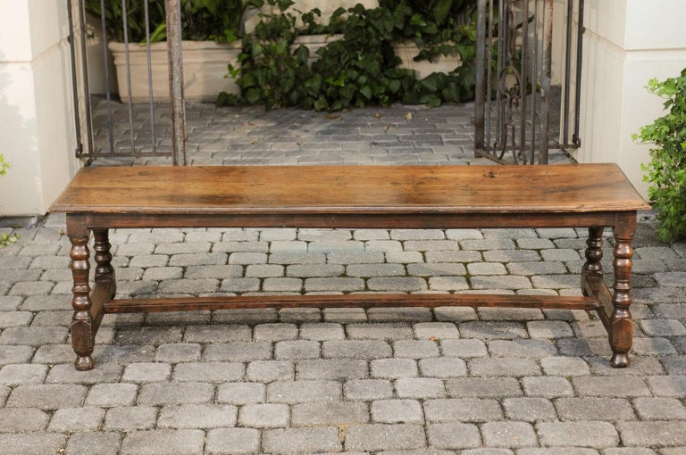 Italian 1800s Walnut Bench with Turned Legs and H-Form Cross Stretcher For Sale 4