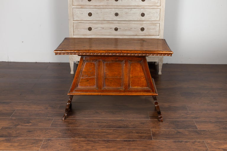 Italian 1800s Walnut Console Cabinet with Scoop Motifs, Doors and Single Drawer For Sale 6