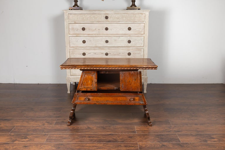 Italian 1800s Walnut Console Cabinet with Scoop Motifs, Doors and Single Drawer For Sale 1