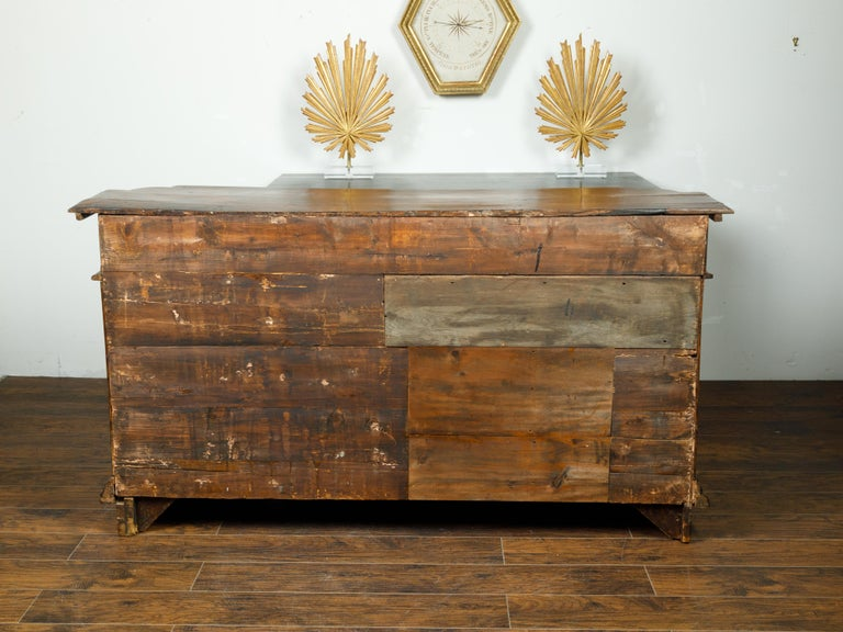 Italian 1800s Walnut Credenza with Drawers, Doors, Inlay and Foliage Carved Feet For Sale 6