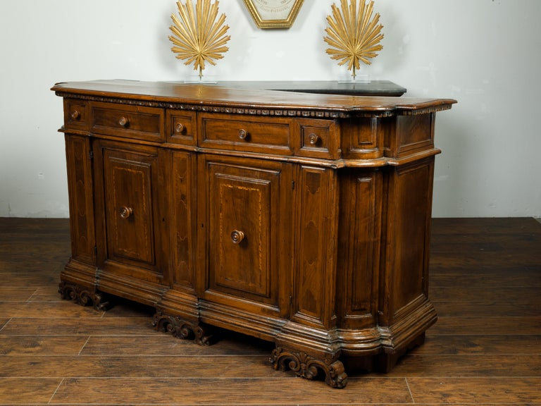 Italian 1800s Walnut Credenza with Drawers, Doors, Inlay and Foliage Carved Feet In Good Condition For Sale In Atlanta, GA