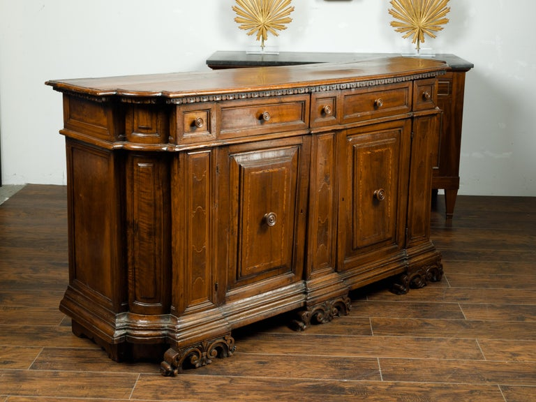 19th Century Italian 1800s Walnut Credenza with Drawers, Doors, Inlay and Foliage Carved Feet For Sale