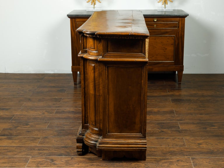 Italian 1800s Walnut Credenza with Drawers, Doors, Inlay and Foliage Carved Feet For Sale 4