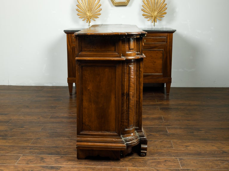 Italian 1800s Walnut Credenza with Drawers, Doors, Inlay and Foliage Carved Feet For Sale 5
