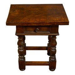 Italian 1800s Walnut Side Table with Single Drawer, Turned Legs and Stretchers