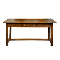 Italian 1800s Walnut Table with Three Drawers, Incised Motifs and Patina