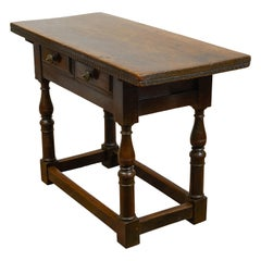 Italian 1800s Walnut Table with Two Drawers, Turned Legs and Dentil Molding