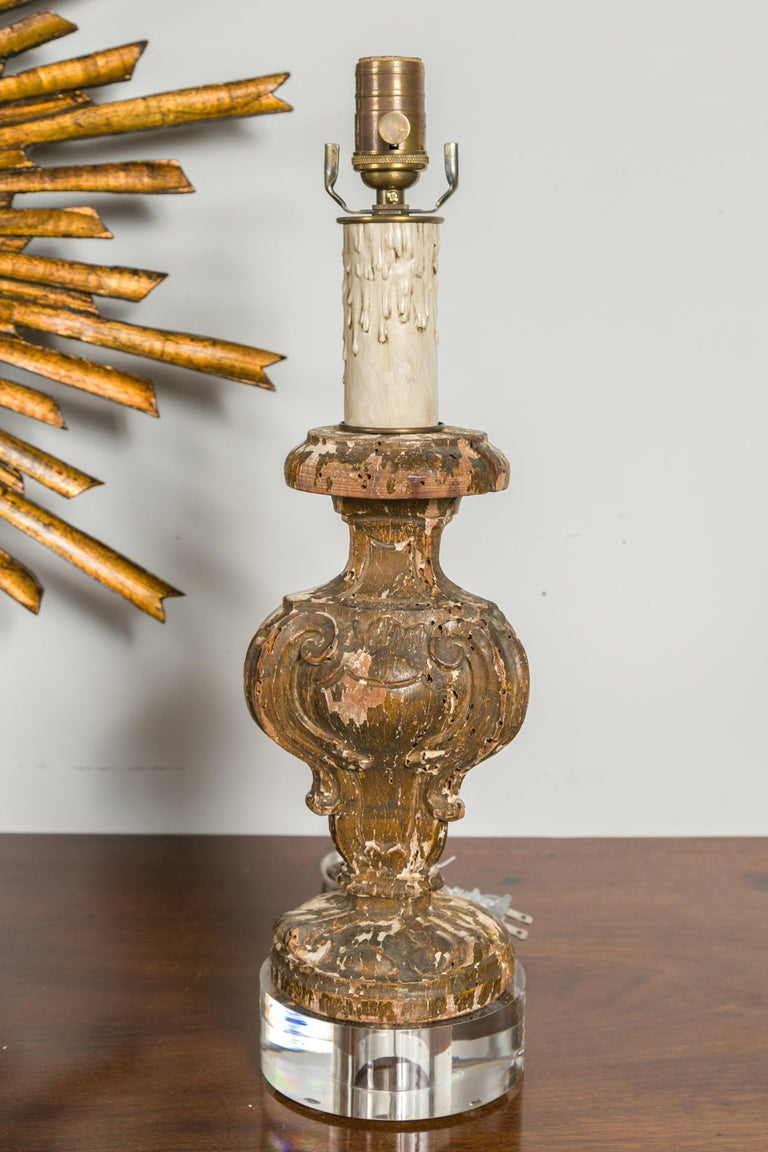 Italian 1820s Baroque Style Carved Fragments Made into Table Lamps on Lucite For Sale 6