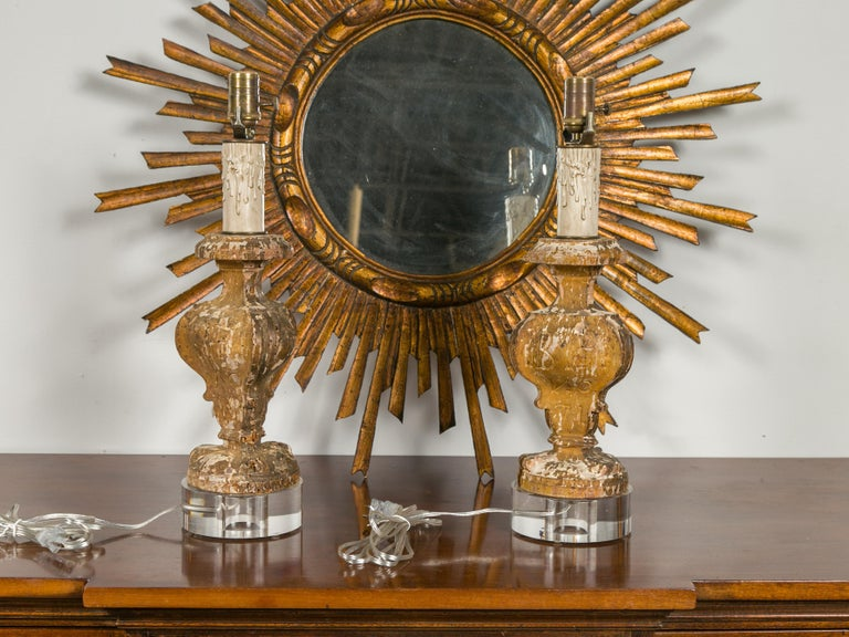 Italian 1820s Baroque Style Carved Fragments Made into Table Lamps on Lucite In Good Condition For Sale In Atlanta, GA