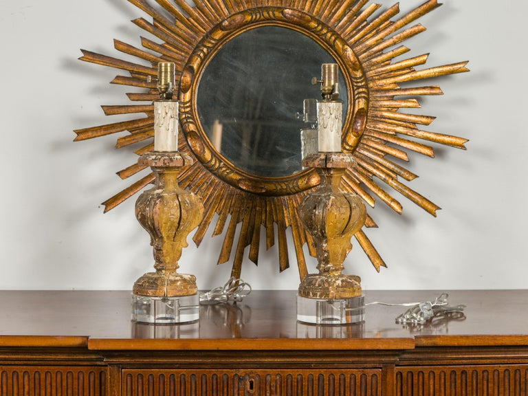 Italian 1820s Baroque Style Carved Fragments Made into Table Lamps on Lucite For Sale 3