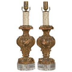 Italian 1820s Baroque Style Carved Fragments Made into Table Lamps on Lucite