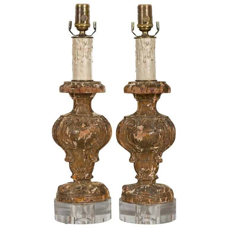 Italian 1820s Baroque Style Carved Fragments Made into Table Lamps on Lucite For Sale