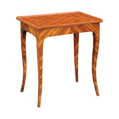 Italian 1820s Walnut Side Table with Marquetry Top, Inlaid Legs and Side Drawer